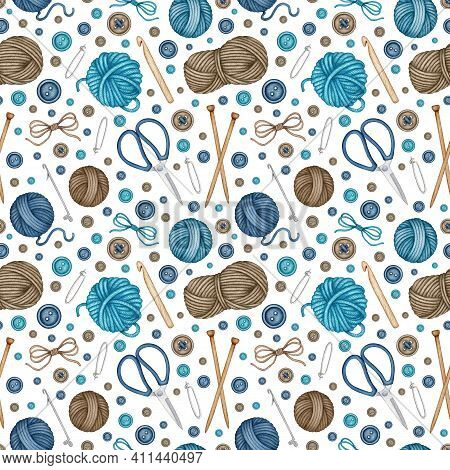 Watercolor Knitting And Crocheting Tools Seamless Pattern. Wool Yarn Skeins, Balls, Wooden Knitting
