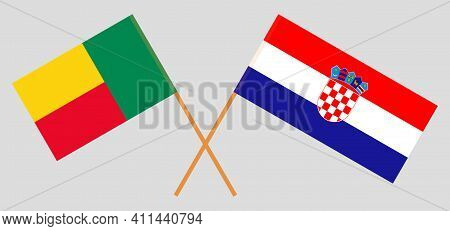 Crossed Flags Of Benin And Croatia. Official Colors. Correct Proportion. Vector Illustration