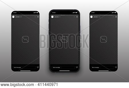 Social Media Network Stories Carousel On Mobile Phone Screen Vector Mockup Isolated On Abstract Whit