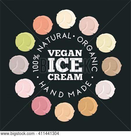 Vegan Ice Cream Logo Template. Cartoon Flat Vector Illustration For Cafe Sign, Restaurant Menu Or Ba