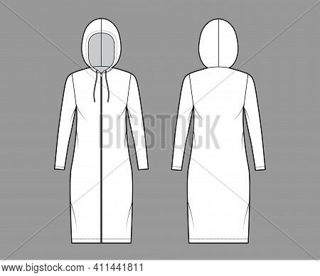 Zip-up Hoody Dress Technical Fashion Illustration With Long Sleeves, Knee Length, Oversized Body, Pe