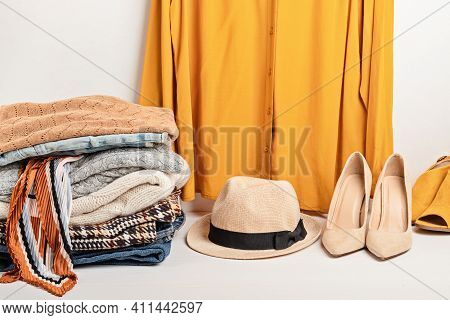 Second Hand Wardrobe Idea. Circular Fashion, Eco Friendly Sustainable Shopping, Thrifting Shop Conce