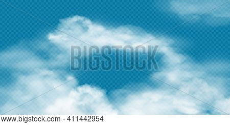 Realistic White Cumulus Clouds On Transparent Background. Vector Illustration Of 3d Smoke Or Fog. Na