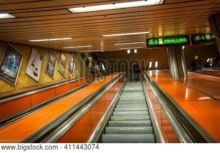 Budapest, Hungary, March 2020, View Of An Escalator Inside A Metro Station