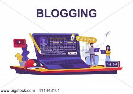 Blogging Service Web Concept In Flat Style. People Writing Articles, Creation Content, Posting At Bl