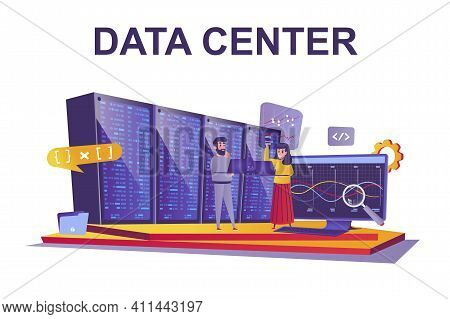Data Center Web Concept In Flat Style. People Working At Server Room, Internet Datacenter, Cloud Sto