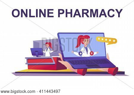 Online Pharmacy Web Concept In Flat Style. Pharmacist Advising Patient Remotely, Buys Medicines At D
