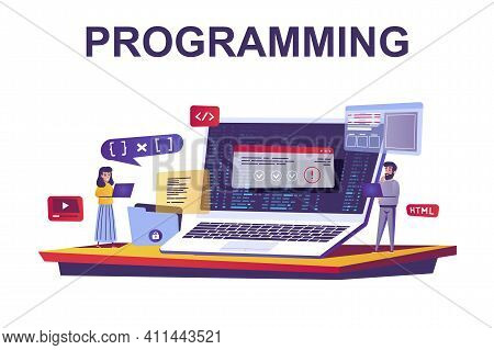 Programming And Coding Web Concept In Flat Style. People Making Program Software At Office, Developm