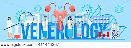 Venerology Concept Vector For Medical Website Header. Venereologist Concept Vector For Health Care L