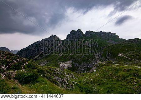 Mangart Road - Final Approach To Mangart Trek During Cloudy Summer Day, Slovenia
