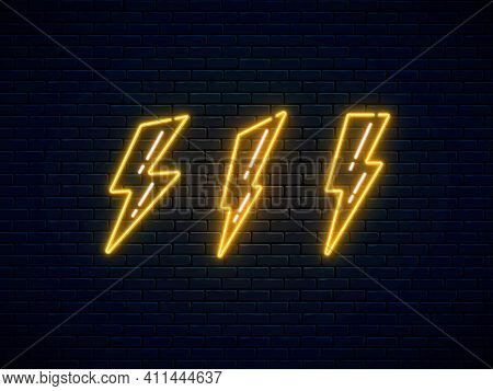 Neon Lightning Bolt Set. High-voltage Thunderbolt Neon Symbol. Lightning, Thunder And Electricity Si
