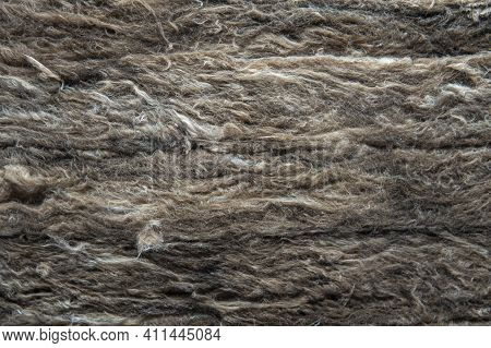 Close Up Of Insulation Fiber For Thermal Insulation. Recycle Material Made From Plastic Bottle.