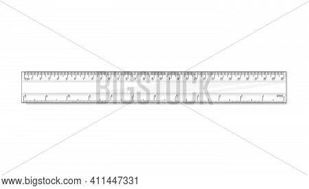 Straight Ruler Thirty Cm. Vector Math Geometry Transparent Plastic School And Office Accessories. Ce