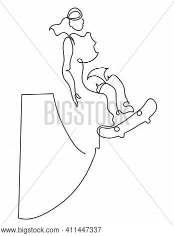 One Line Drawing Of Skater Woman. One Continuous Line Drawing Of Woman Riding Her Longboard.