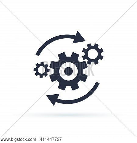 Process Icon In Flat Style Isolated On White. Process Symbol In Black For Your Web Site Design, App,