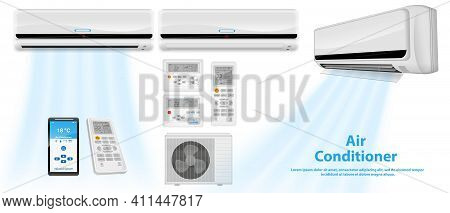 Set Of Realistic Air Conditioner Or Split Air Conditioner System With Remote Or Temperature Air Cond