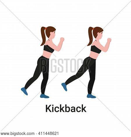 Booty Or Glutes Workout. Standing Kickback Exercise. Stay Home And Do Sport. Flat Vector Cartoon Mod