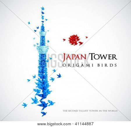 Japan origami tower - Tokyo Skytree - the second tallest tower in the world - shaped from flying birds