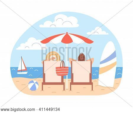 Sunbathing Couple Man, Woman With Beach Umbrella, Deck Chairs Relax At Blue Ocean Seaside Landscape.