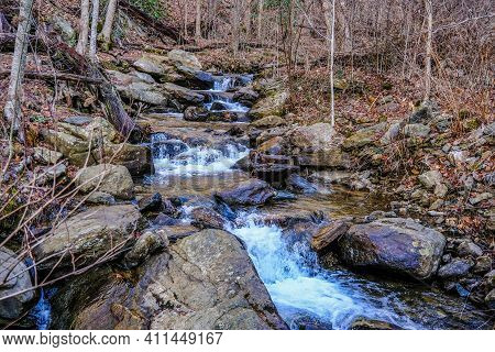 Mountain Stream In Winter From Amicalola Falls