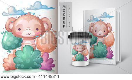 Monkey In Bush Poster And Merchandising. Vector Eps 10