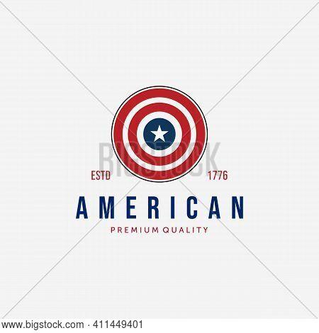 Circle Of American Flag Logo Vector, Captain America Illustration Design, Usa Vintage Concept