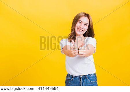 Portrait Asian Thai Beautiful Happy Young Woman Smiling Wear White T-shirt Standing Successful Woman