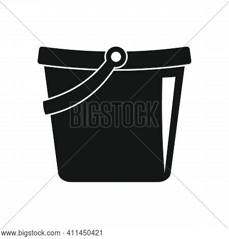 Carring Bucket Black Simple Icon. Vector Carring Bucket Black Simple Icon   Isolated On White Backgr