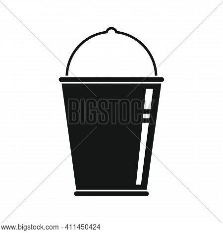 Enameled Bucket Black Simple Icon. Vector Enameled Bucket Black Simple Icon   Isolated On White Back