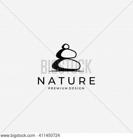 Nature Balance Stone Logo Vector, Spa Concept Vintage, Illustration Of Hard Rock And Balancing