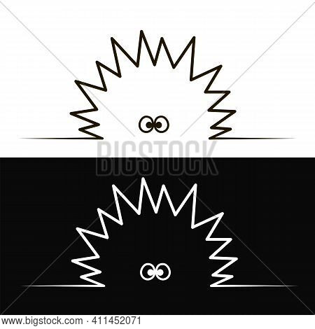 Vector Black Minimalistic Silhouette Of A Prickly Ball For Decoration On White And Black Background