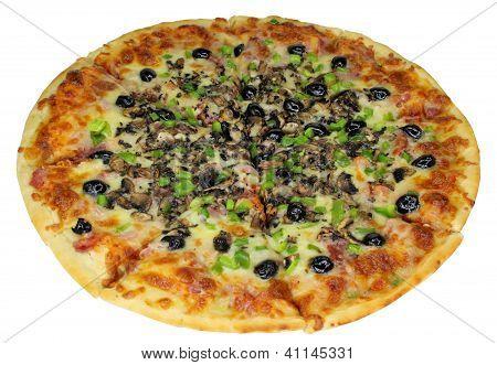 Quattro Stragioni Pizza Complete Isolated