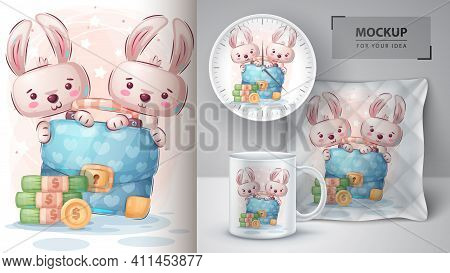 Rabbit With Diplomat Poster And Merchandising. Vector Eps 10