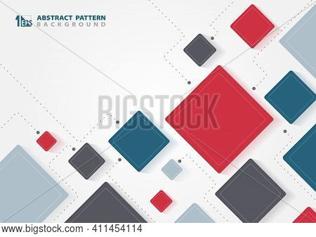 Abstract Business Tech Square Design Of Communication Template. New Style Of Colors Tones Style Artw