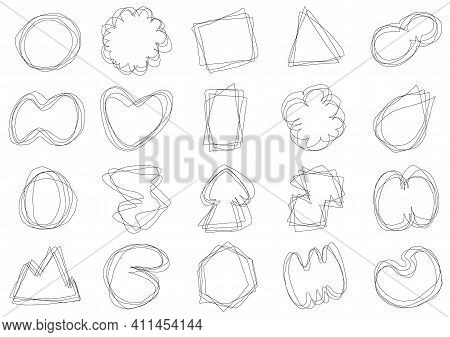Abstract Doodle Line Artwork Of Drawing Illustration Badge Icon Set. Minimal Style Of Space For Text