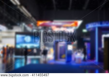 Abstract Of Blur Crowd And Lights In Exhibition Hall Background Of Department Shopping Mall, Blurred