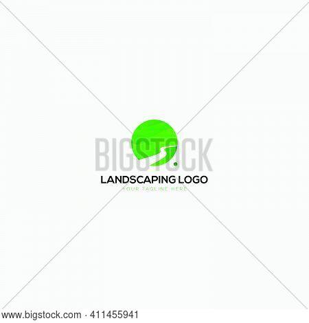 Green Landscaping Natural And Abstract Logo Circle