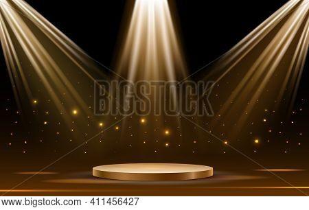 Iluminated Gold Podium. Empty Round Pedestal In Dark With Spotlights Bright Vector Illustration, Cir