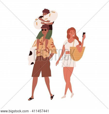 Happy Family With Child Going To Beach On Summer Holidays. Sun-tanned Tourists Walking And Taking Ph