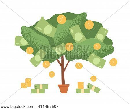 Money Tree In Pot With Cash On Branches. Plant With Falling Coins And Banknotes. Concept Of Abundanc