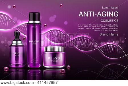 Anti Aging Cosmetics Tubes And Cream Jar Mock Up Banner With Dna Structure, Repair Beauty Skin Care