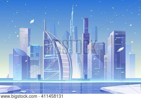 Winter City Skyline At Frozen Waterfront Bay. Futuristic Metropolis Architecture And Ferris Wheel Vi
