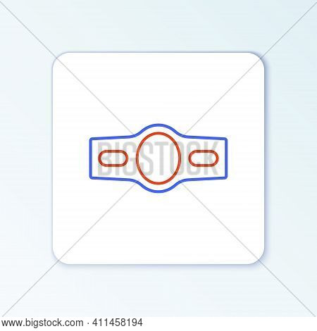 Line Boxing Belt Icon Isolated On White Background. Belt Boxing Sport Championship Winner Fight Awar