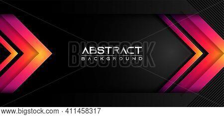 Dark Black Carbon With Modern Shinny Gradient Lines, Modern Arrow Futuristic Background