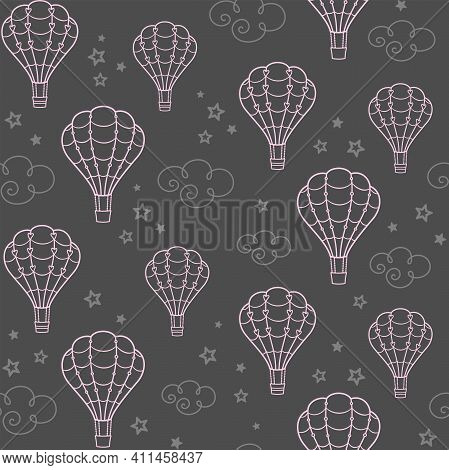 Openwork Pink Hot Air Balloons On A Gray Background With Clouds And Stars. Vector Seamless Pattern F