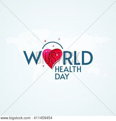 World Health Day Lettering With Heart And Star Shapes On World Map Textured Background. Medical Post