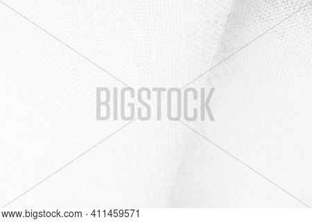 White Hemp Rope Texture Background. Haircloth Or Blanket Wale Linen Wallpaper. Rustic Sackcloth Canv