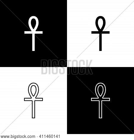 Set Cross Ankh Icon Isolated On Black And White Background. Vector
