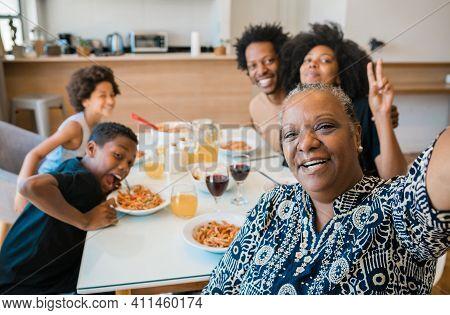 Portrait Of African American Multigenerational Family Taking
