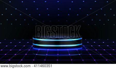 Neon Podium. Empty Stage In Nightclub, Dance Floor With Pedestal And Glowing Lightings. Scene For Da